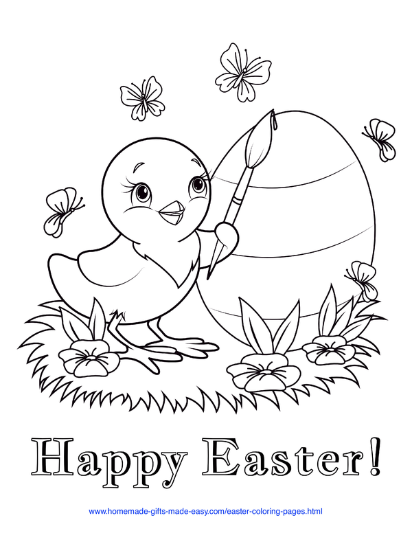 Easter Coloring Pages - chick painting stripes onto an egg