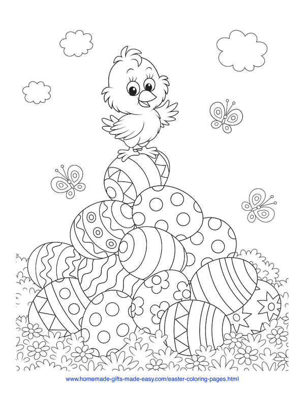 Easter Coloring Pages - chick on a pile pf patterned eggs with butterflies