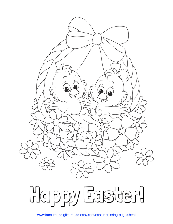 Easter Coloring Pages - chicks in basket of flowers