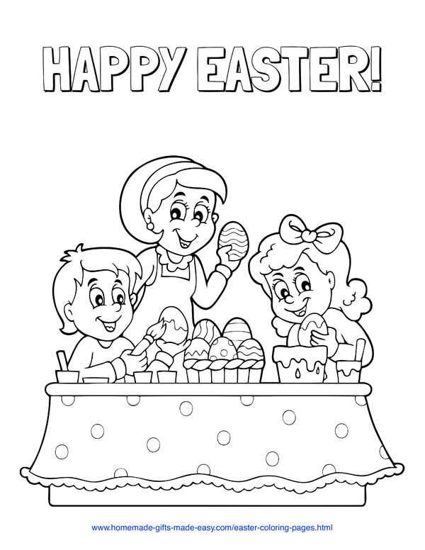Easter Coloring Pages - children decorating eggs