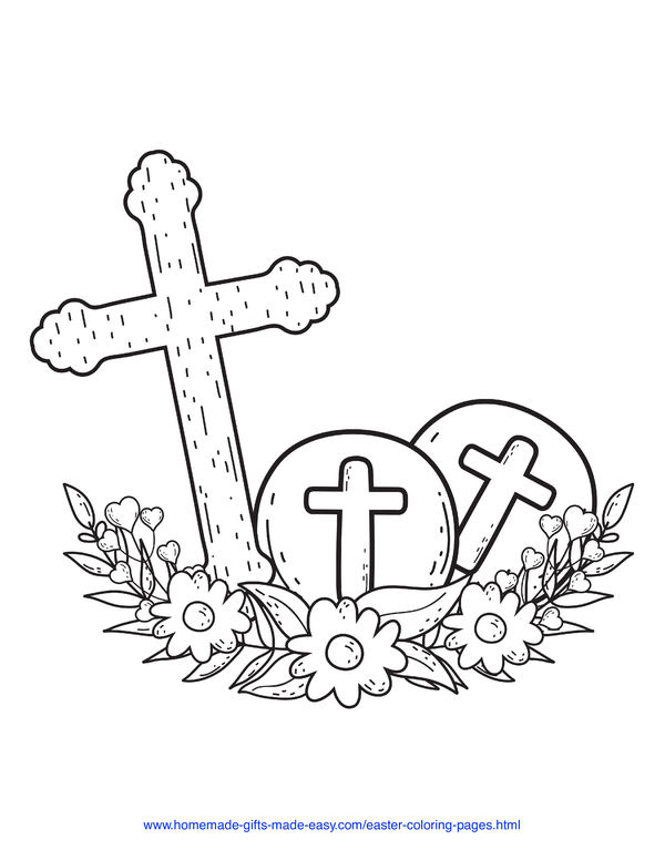 Easter Coloring Pages - cross with eggs and flowers