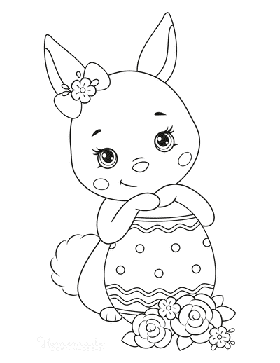 Easter Coloring Pages Cute Bunny Egg Flowers