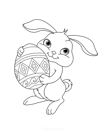 Easter Coloring Pages Cute Bunny Holding Egg