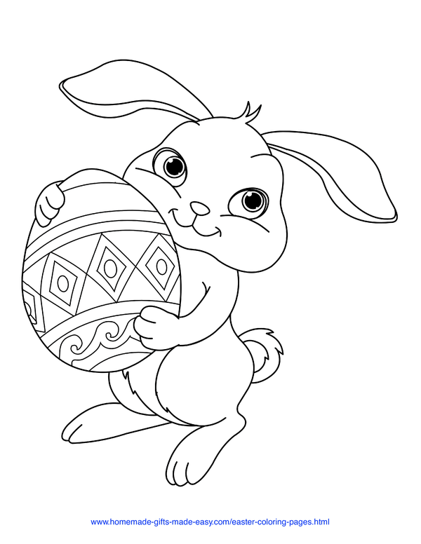 Easter Coloring Pages - bunny holding Easter egg