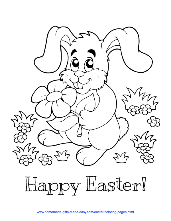 Easter Coloring Pages - cute bunny holding flower