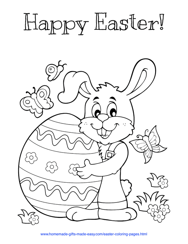 Easter Coloring Pages - cute bunny holding huge easter egg with butterflies