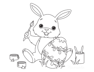 Easter Coloring Pages Cute Bunny Painting Egg