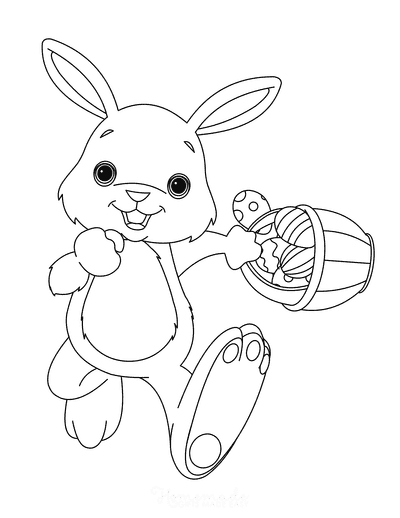 Easter Coloring Pages Cute Bunny With Basket
