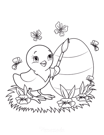 Easter Coloring Pages Cute Chick Painting Egg Butterflies