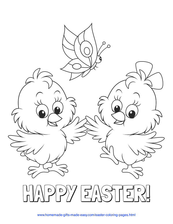 Easter Coloring Pages - cute chicks with butterflies