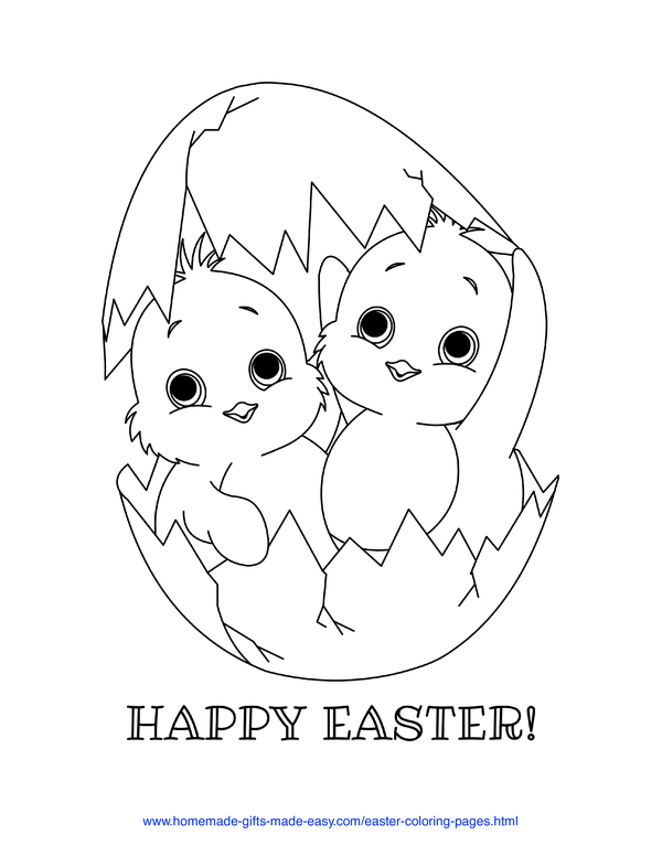 Easter Coloring Pages - two chicks hatching out of an egg