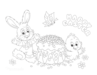 Easter Coloring Pages Cute Easter Bunny Chick Cake