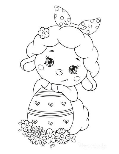 Easter Coloring Pages Cute Lamb Egg Flowers