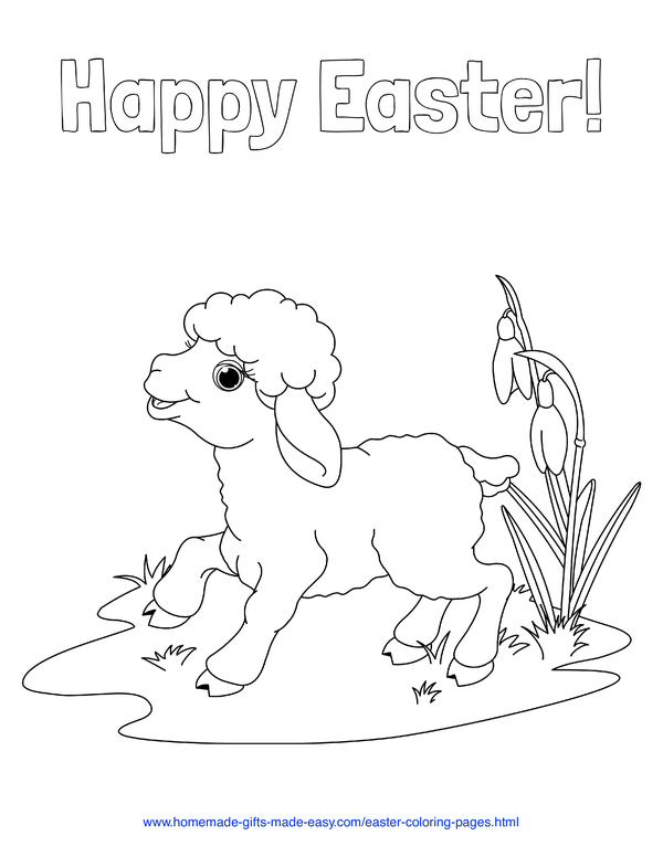 Easter Coloring Pages - cute lamb with flowers