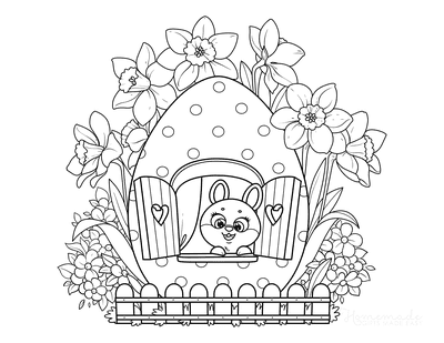 Easter Coloring Pages Cute Little Rabbit Egg House Daffodils