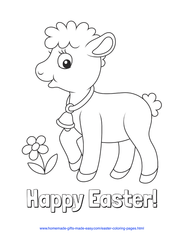 Easter Coloring Pages - spring lab with bell and flower