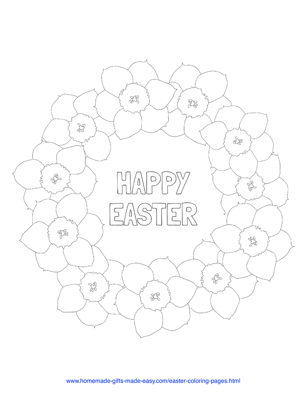 Easter Coloring Pages - daffodil wreath