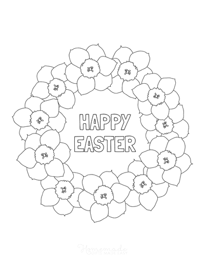 Easter Coloring Pages Daffodil Wreath