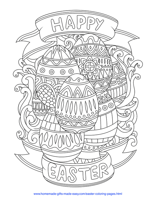 Easter Coloring Pages - Happy Easter banner with intricate decorated eggs