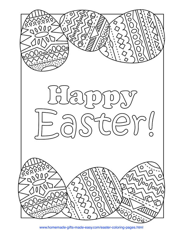 Easter Coloring Pages - Happy Easter message with egg border