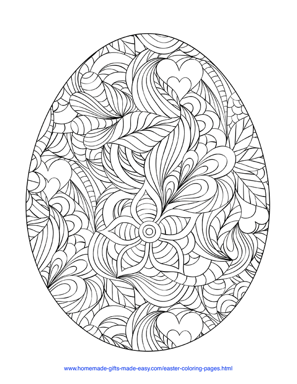 Easter Coloring Pages - intricate egg doodle adult
