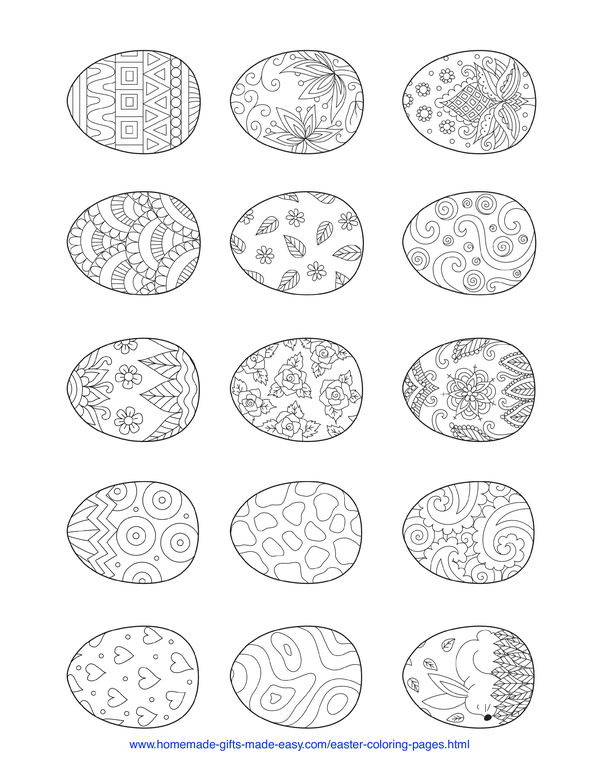 Easter Coloring Pages - 15 decorative eggs