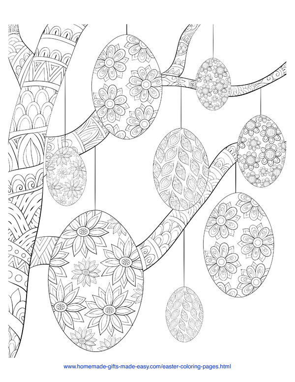 Easter Coloring Pages - decorative eggs hanging from a tree intricate doodle adult