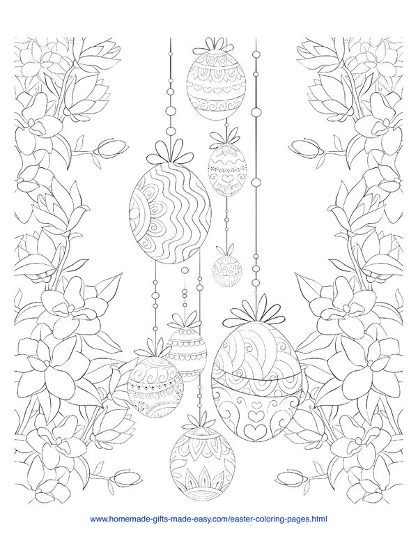 Easter Coloring Pages - decorative eggs hanging and flower border