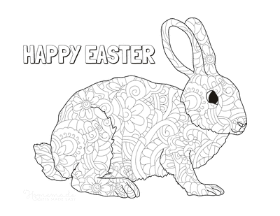 Easter Coloring Pages Decorative Patterned Rabbit
