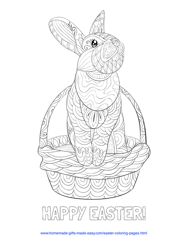 Easter Coloring Pages - rabbit in basket intricate doodle adult