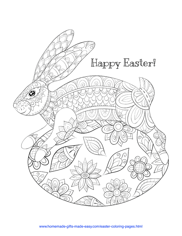 Easter Coloring Pages - decorative rabbit on egg intricate doodle adult