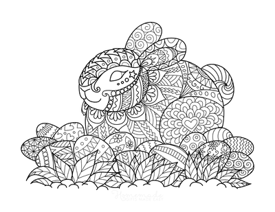 Easter Coloring Pages Detailed Bunny Eggs for Adults