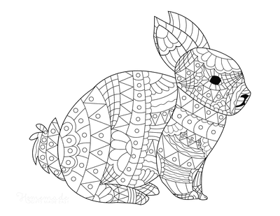 Easter Coloring Pages Detailed Patterned Rabbit for Adults