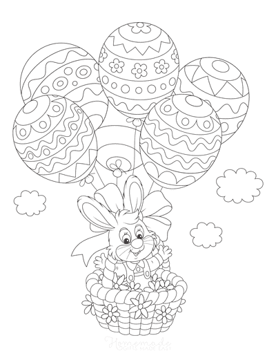 Easter Coloring Pages Easter Bunny Egg Balloon