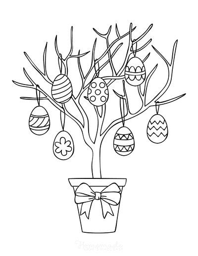 Easter Coloring Pages Easter Egg Tree