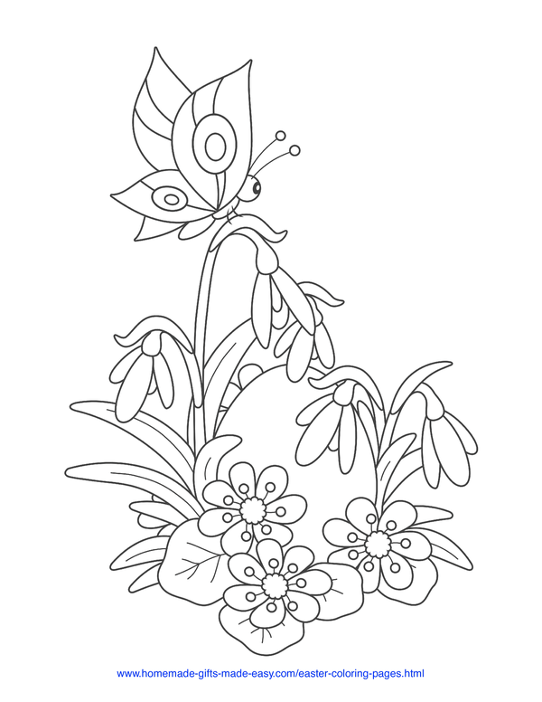 Easter Coloring Pages - egg hiden among spring flowers with butterfly