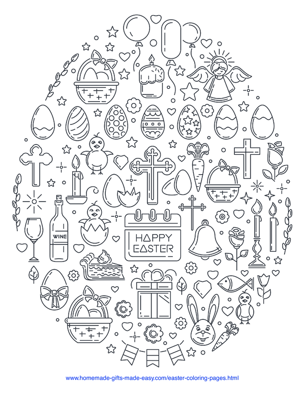 Easter Coloring Pages - egg made from Easter icons