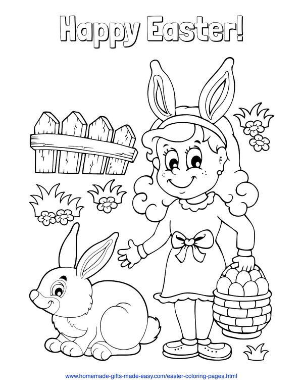 Easter Coloring Pages - girl holding basket full of eggs in garden with rabbit