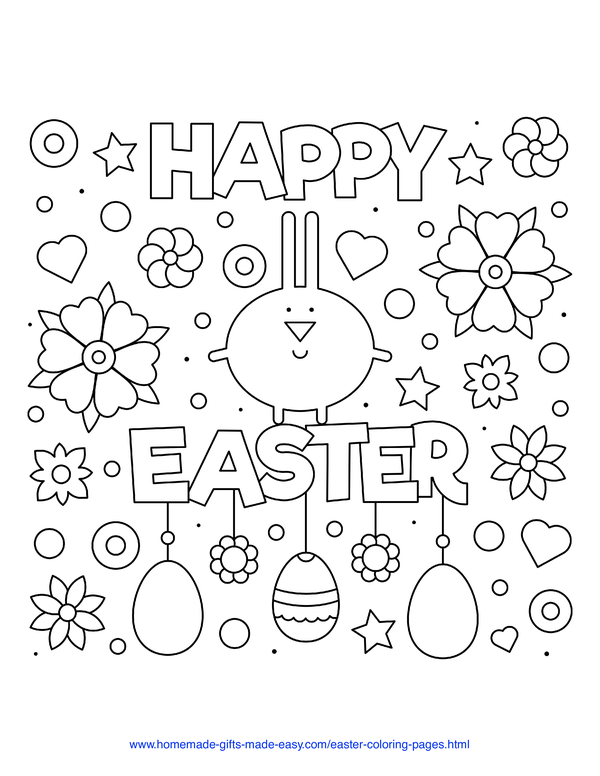 Easter Coloring Pages - stylized bunny with flowers, eggs, hearts and stars