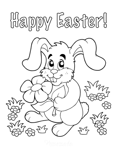 Easter Coloring Pages Happy Easter Bunnie With Flower