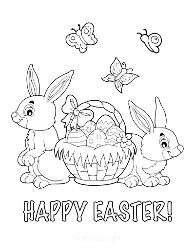 Easter Coloring Pages Happy Easter Bunnies With Basket