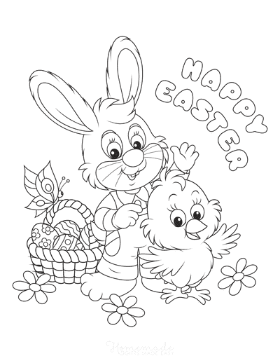 Easter Coloring Pages Happy Easter Bunny Chick Basket