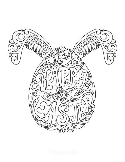 Easter Coloring Pages Happy Easter Bunny Doodle