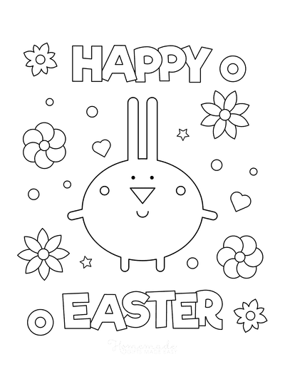 Easter Coloring Pages Happy Easter Bunny Flowers Sign