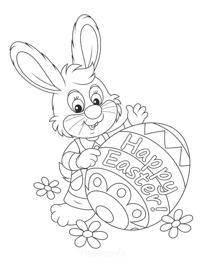 Easter Coloring Pages Happy Easter Bunny Patterned Egg