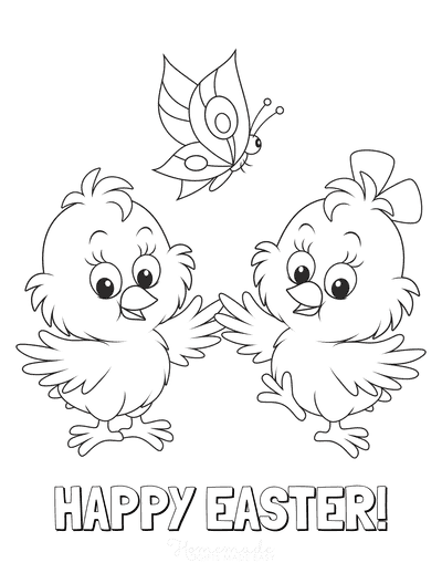 Easter Coloring Pages Happy Easter Chicks Butterfly