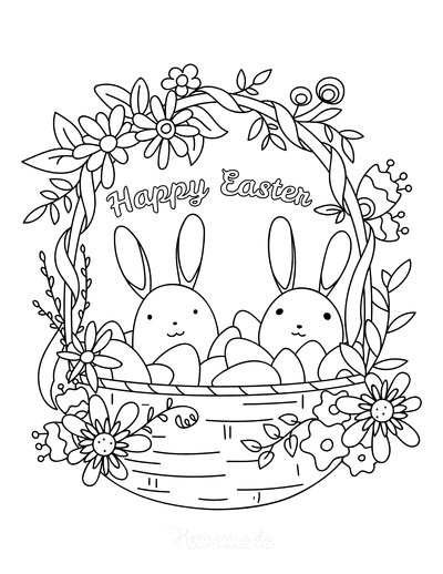 Easter Coloring Pages Happy Easter Cute Basket Eggs Flowers