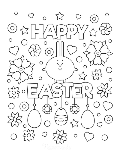 Easter Coloring Pages Happy Easter Eggs Flowers Stars
