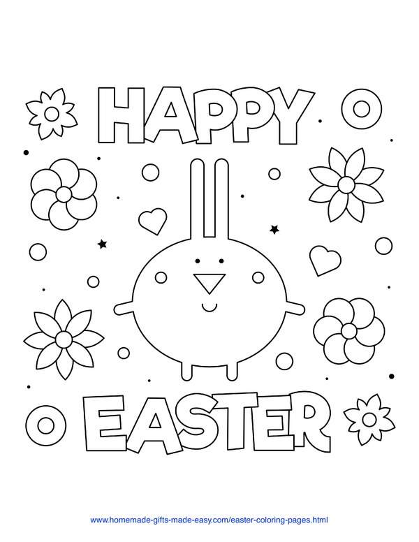 Easter Coloring Pages - stylized bunny with flowers and Happy Easter sign