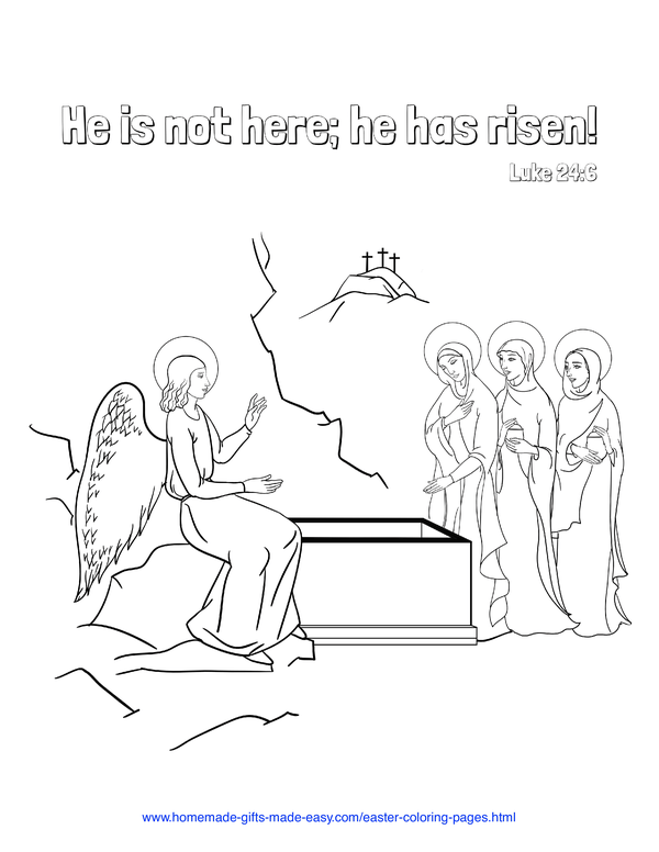 Easter Coloring Pages - He is risen Luke 24